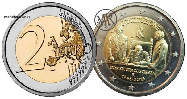 2 Euro Commemorativi Italiani 2018 Settantesimo Anniversario della Costituzione italiana