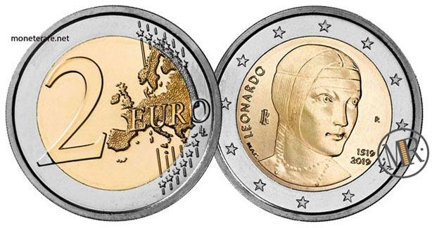 2 Euro Commemorativi Italia 2019  Leonardo da Vinci
