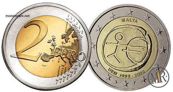 2 Euro Commemorativi Malta 2009 10° anniversario dell'Unione Economica e Monetaria