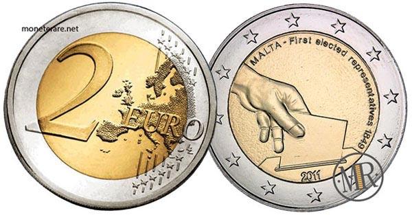 2 Euro Commemorativi Malta 2011 Elezione dei primi rappresentanti maltesi nel 1849