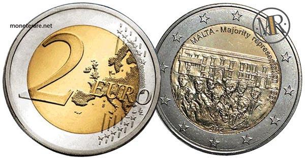 2 Euro Commemorativi Malta 2012 Maggioranza elettiva 1887