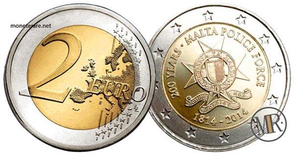 2 Euro Commemorativi Malta 2014 200° anniversario del Corpo di Polizia di Malta