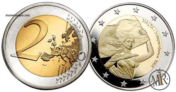 2 Euro Commemorativi Malta 2014 Indipendenza di Malta 1964