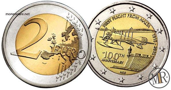 2 Euro Commemorativi Malta 2015 100° anniversario del primo volo da Malta