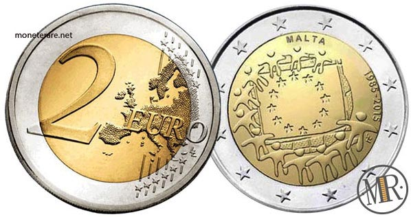 2 Euro Commemorativi Malta 2015 30° anniversario della bandiera europea
