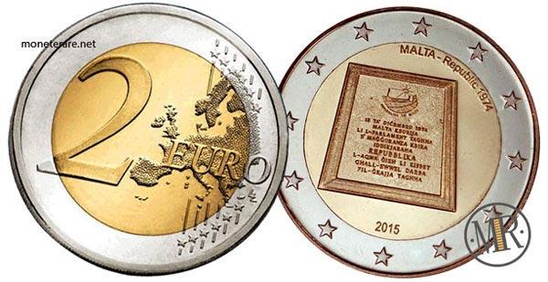 2 Euro Commemorativi Malta 2015 Proclamazione della Repubblica di Malta 1974