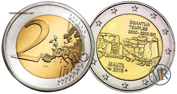 2 Euro Commemorativi Malta 2016 Templi di Gigantia