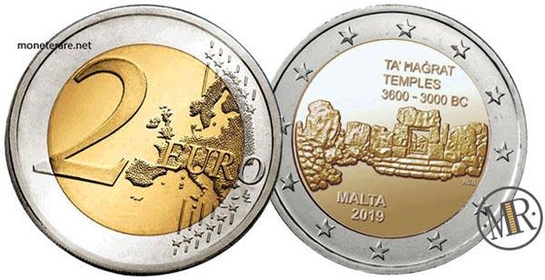 2 Euro Commemorativi Malta Templi di Ta Hagrat