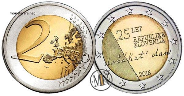 2 Euro Commemorativi Slovenia 2016 Indipendenza della Repubblica di Slovenia