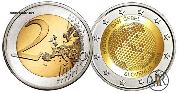 2 Euro Commemorativi Slovenia 2018 Giornata mondiale delle api
