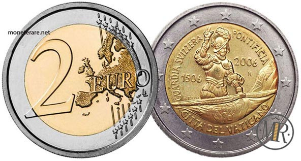 2 Euro Commemorativi Vaticano 2006 500 Anniversario della Guardia Svizzera