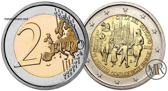2 Euro Commemorativi Vaticano  2012 VII Incontro mondiale delle famiglie