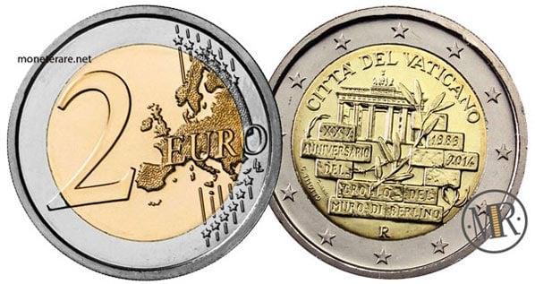 2 Euro Commemorativi Vaticano 2014 XXV Anniversario del crollo del muro di Berlino