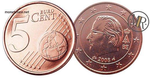 5 Centesimi Euro Belgio Seconda Serie 2008