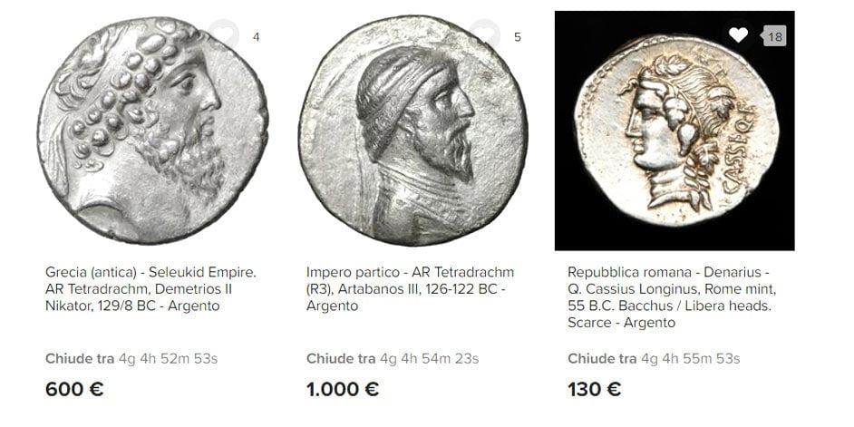monete antiche greche o romane da comprare all'asta
