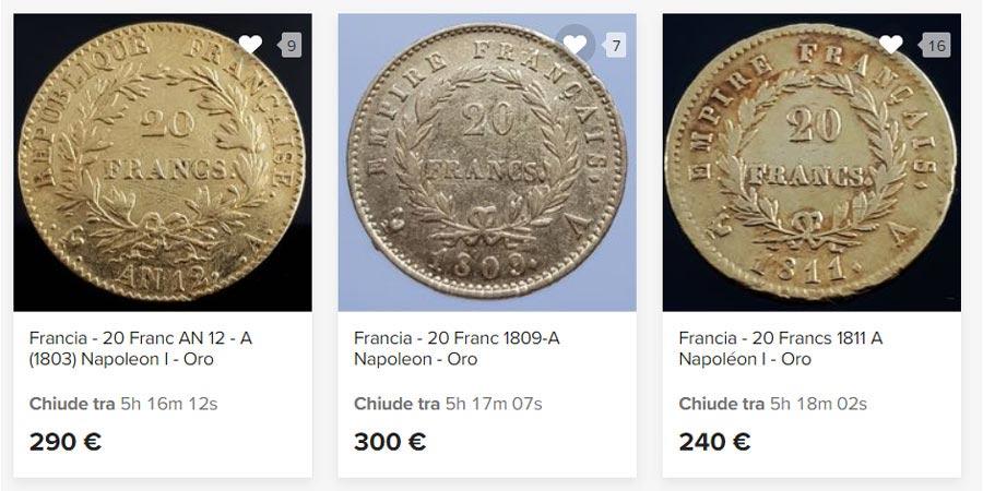 tre monete franchi d'oro da comprare all'asta