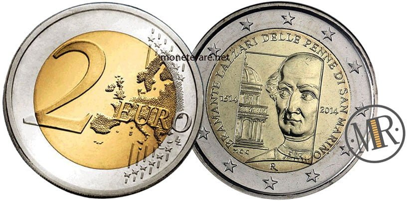 2 Euro Commemorativi San Marino 2014 Bramante