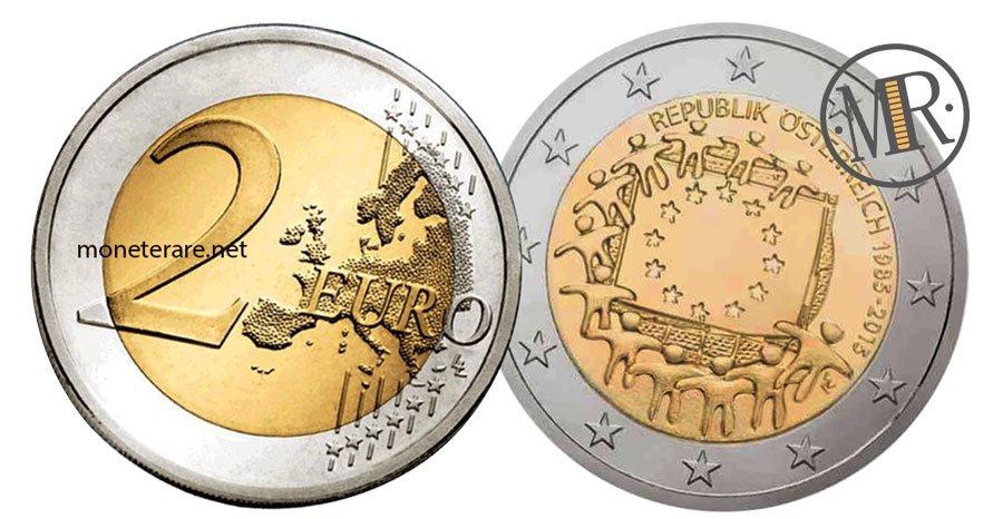 2 Euro Commemorativi Austria 2015 Bandiera Europea
