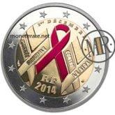 2 Euro Francia 2014 - Giornata mondiale contro l'AIDS fondo specchio colorato