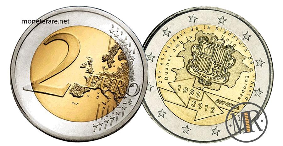 2 Euro Commemorativi Andorra 2015 Accordo Doganale