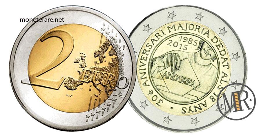 Due Euro Commemorative dell'Andorra  2016 Maggiorenni a 18 anni
