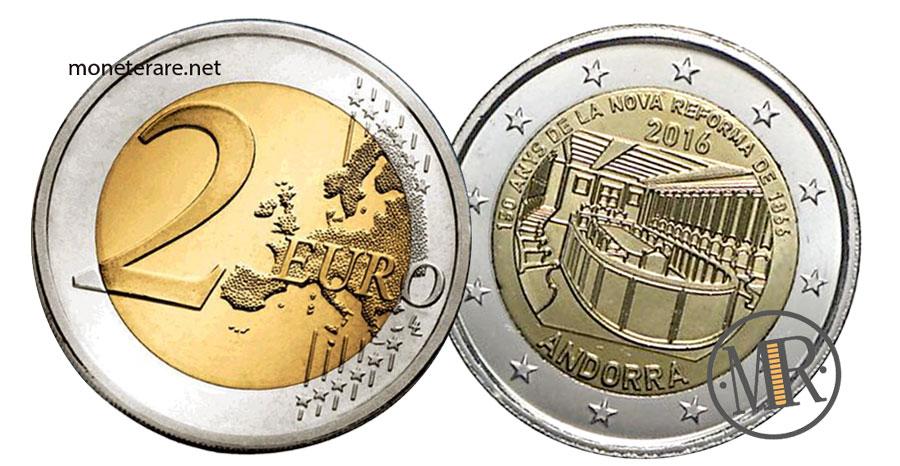 Due Euro Commemorative dell'Andorra  2016 Nuova Riforma
