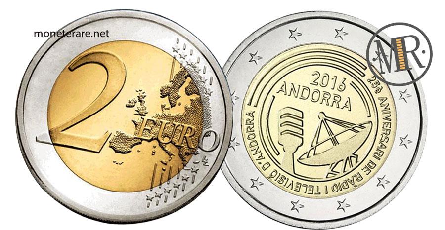 2 Euro Commemorativi Andorra 2016 Radiotelevisione