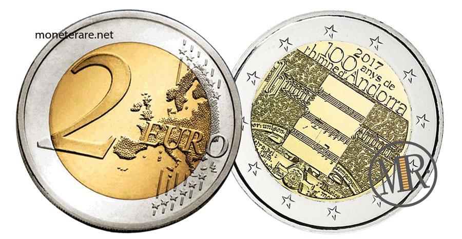 Due Euro Commemorative dell'Andorra  2017 Inno di Andorra