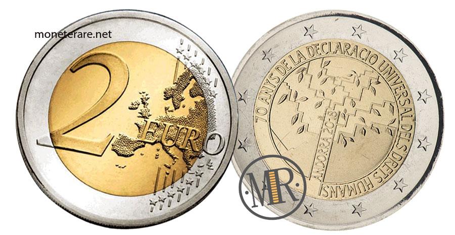 Due Euro Commemorative dell'Andorra  2018 Dichiarazione Universale dei Diritti Umani
