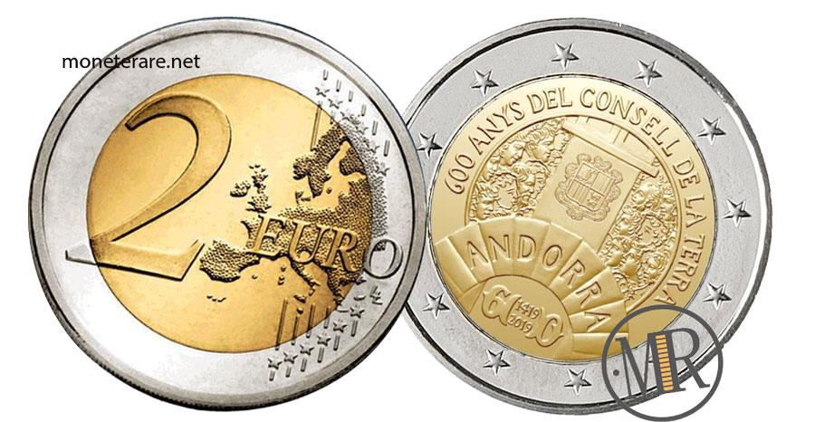 Due Euro Commemorative dell'Andorra 2019 Consell de la Terra