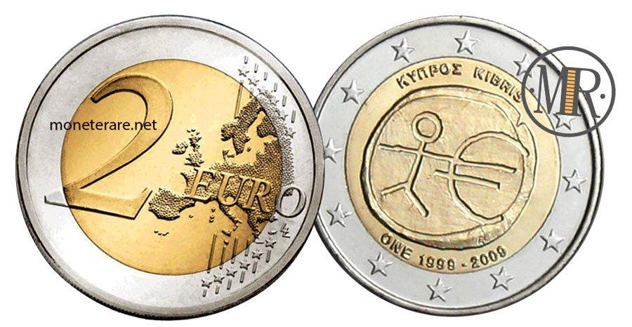 2 Euro Commemorativi Cipro 2009 Unione Economica Monetaria