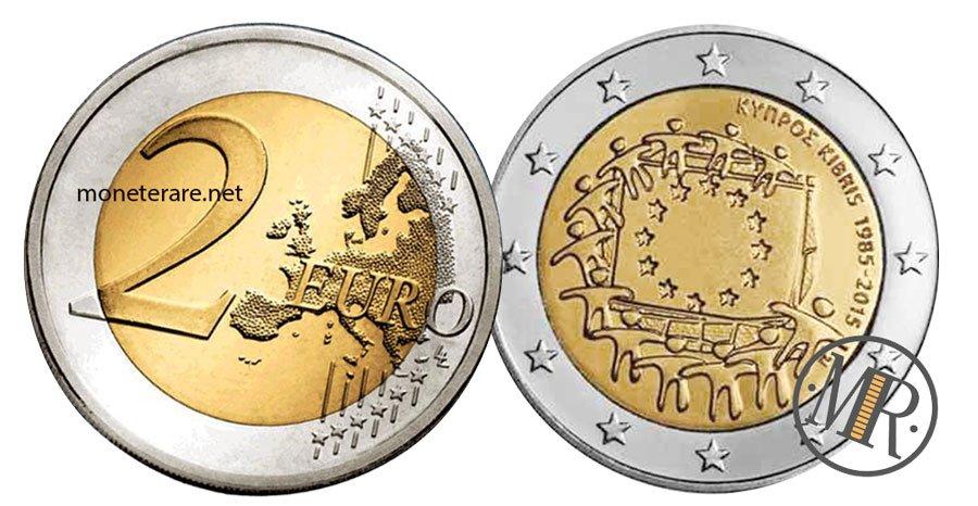 2 Euro Commemorativi Cipro 2015 Bandiera Europea