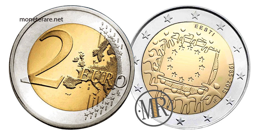2 Euro Commemorativi Estonia 2015 Bandiera Europea