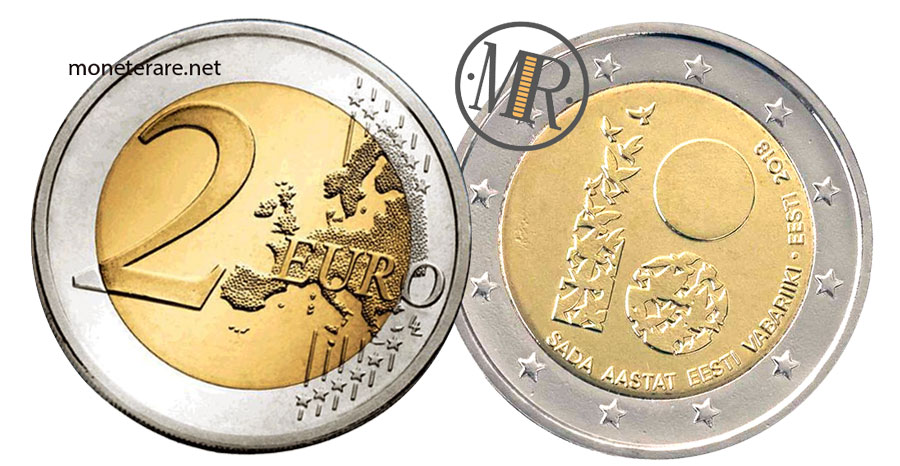 2 Euro Commemorativi Estonia 2018 Repubblica Estonia
