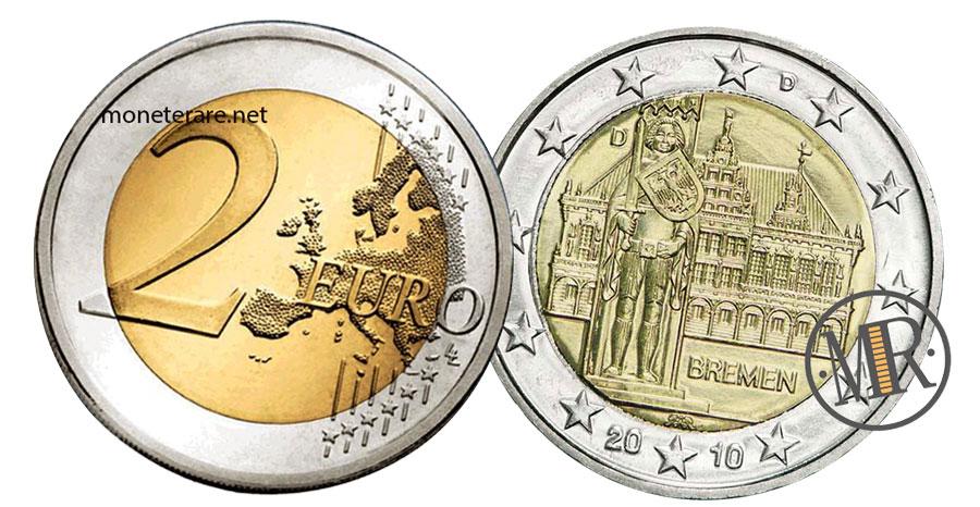 2 Euro Commemorativi Germania 2010 Municipio di Brema e Statua di Orlando