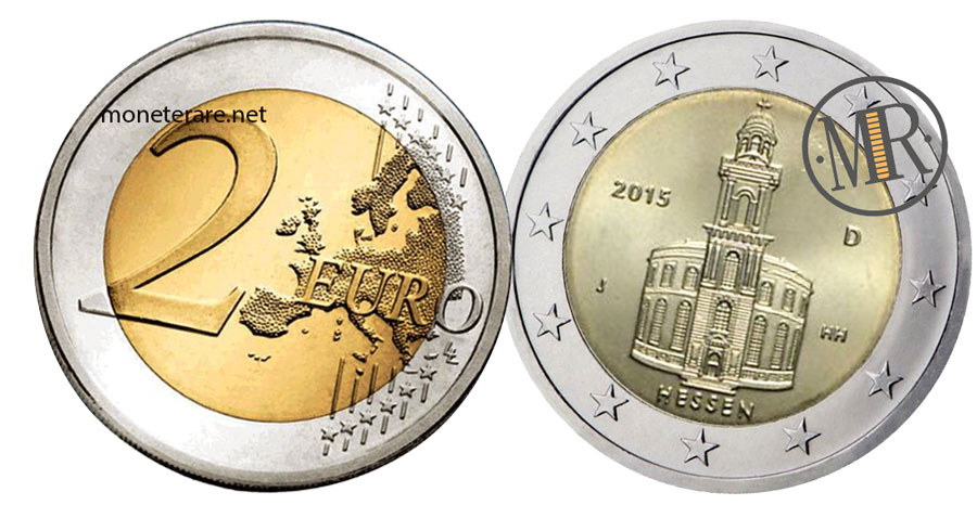2 Euro Commemorativi Germania 2015 Chiesa di San Paolo a Francoforte Hessen