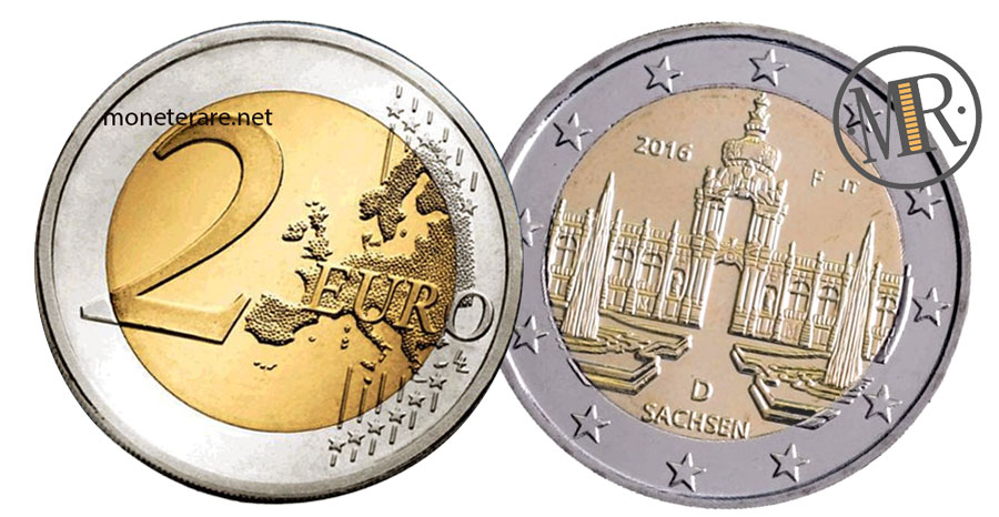 2 Euro Commemorativi Germania 2016 Zwinger di Dresda  Sachsen