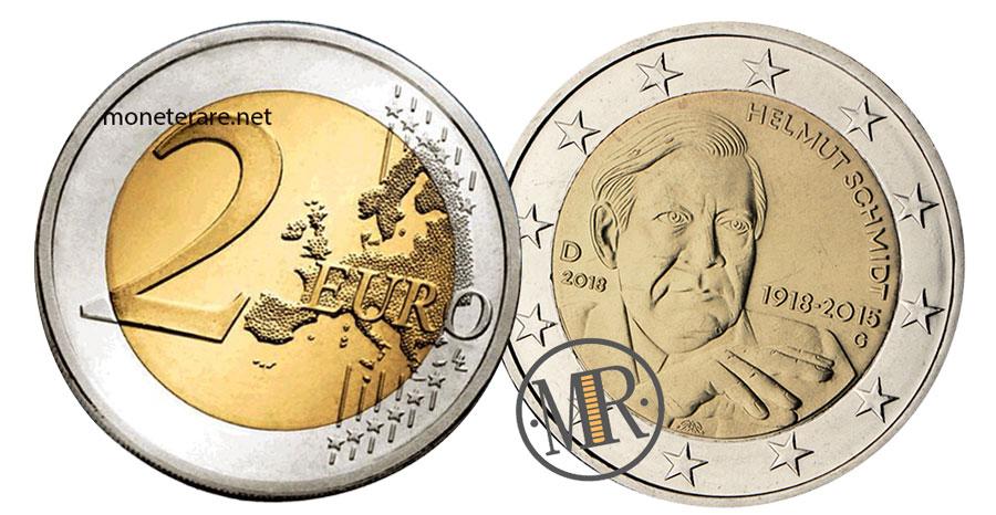 2 Euro Commemorativi Germania 2018 Helmut Schmidt