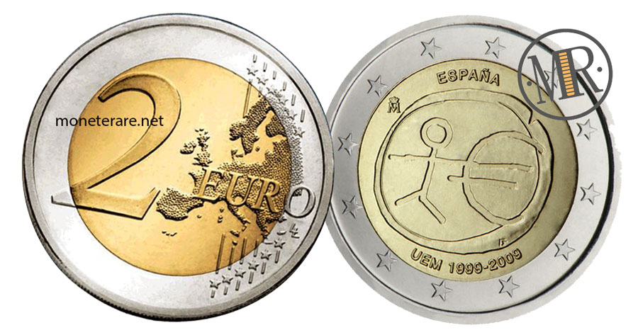 Value of  2 Euro Spain 2009 - 10th Anniversary of Economic and Monetary Union (UEM)