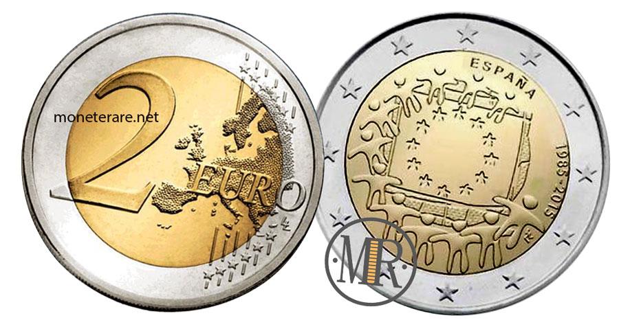 2 Euro Commemorativi Spagna 2015 Bandiera Europea