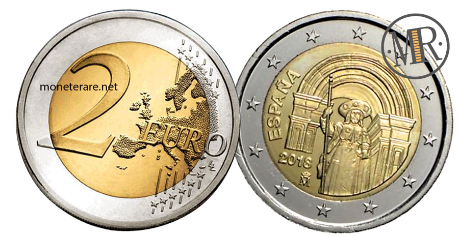 2 Euro Commemorativi Spagna 2018 Patrimonio dell'umanitàSantiago de Compostela