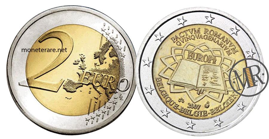 2 Euro Commemorativi Belgio 2007 Trattati di Roma