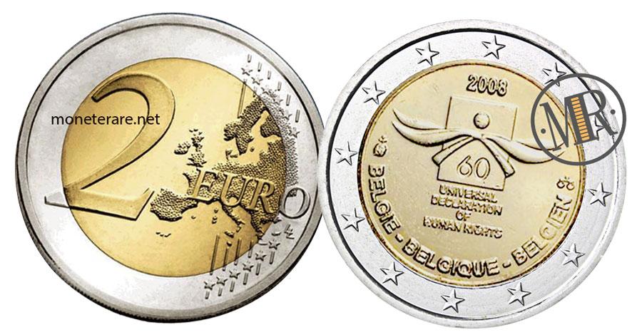 2 Euro Commemorativi Belgio 2008 Diritti Umani