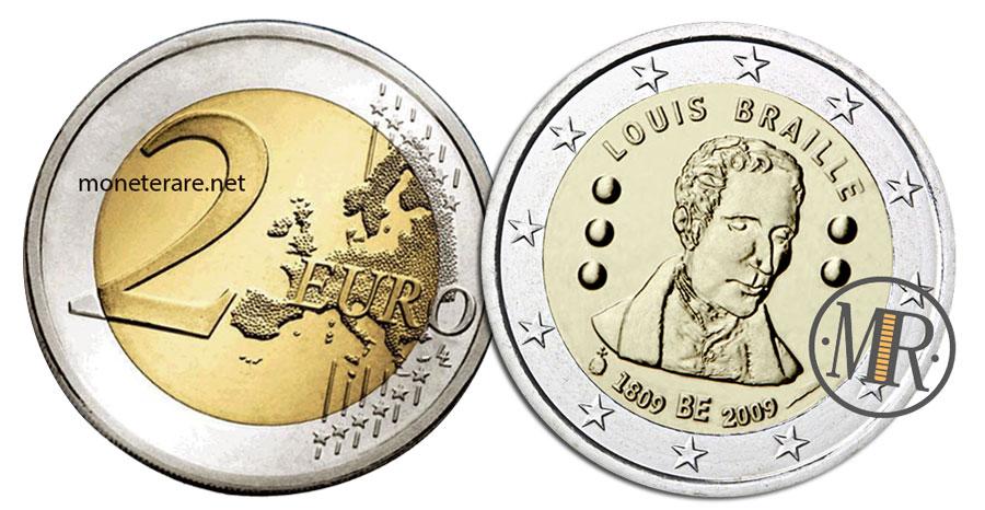 2 Euro Commemorativi Belgio 2009 Louis Braille