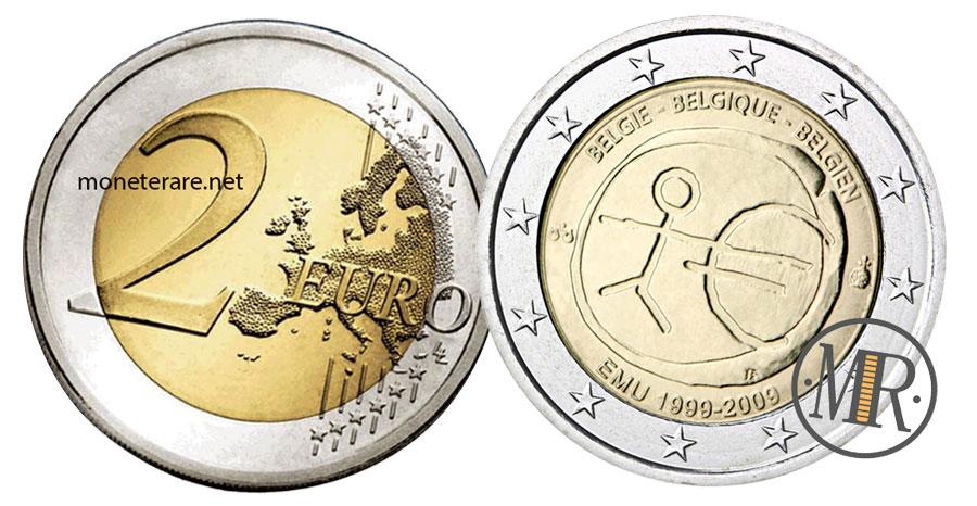 2 Euro Commemorativi Belgio 2009 Unione Economica Monetaria
