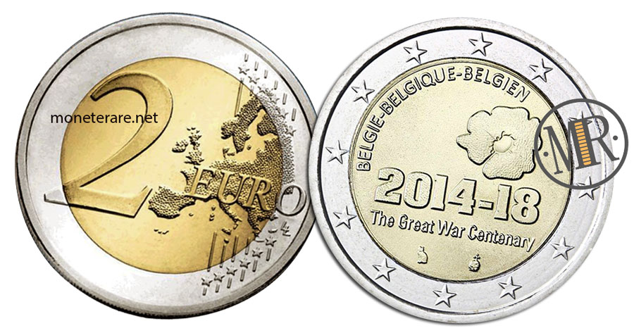 2 Euro Belgio 2014 Commemorativi   Prima Guerra Mondiale