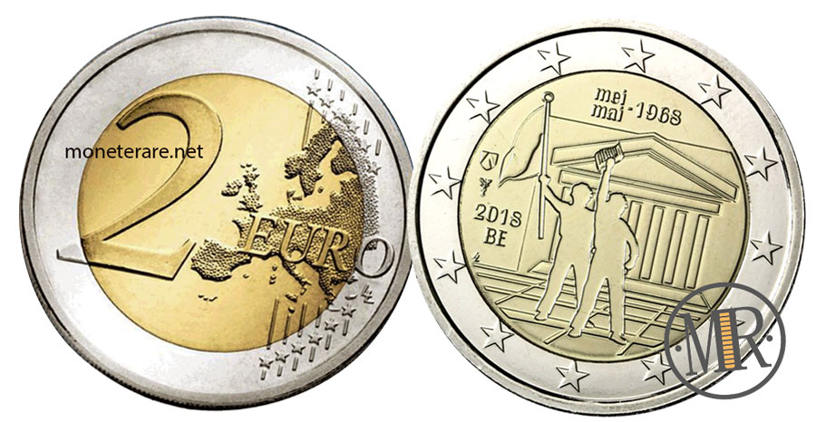 2 Euro Belgio 2018 Commemorativi Rivolta Studentesca 1968
