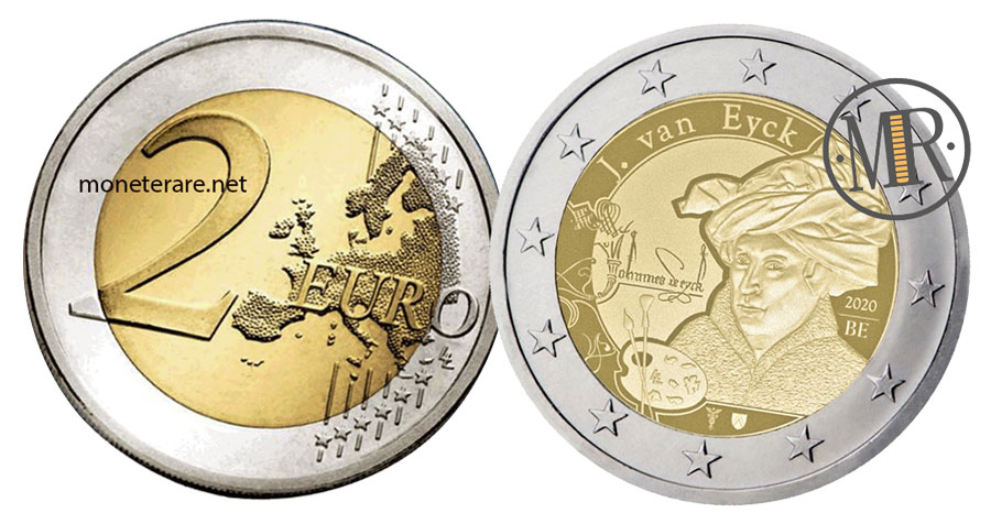 2 Euro Commemorativi Belgio 2020 Jan van Eyck