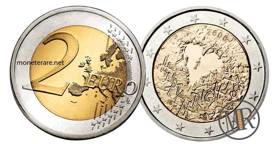 2 Euro Commemorativi Finlandia 2008 - Dichiarazione Diritti Umani