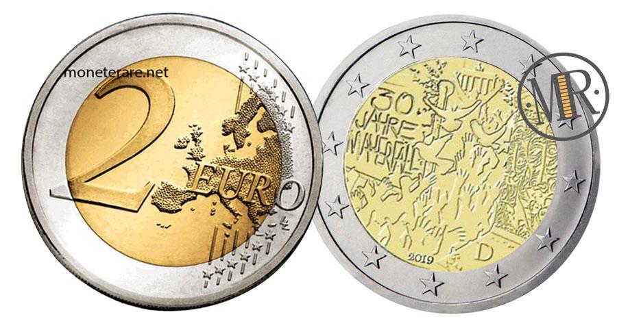 2 Euro Commemorativi Germania 2019 Muro di Berlino